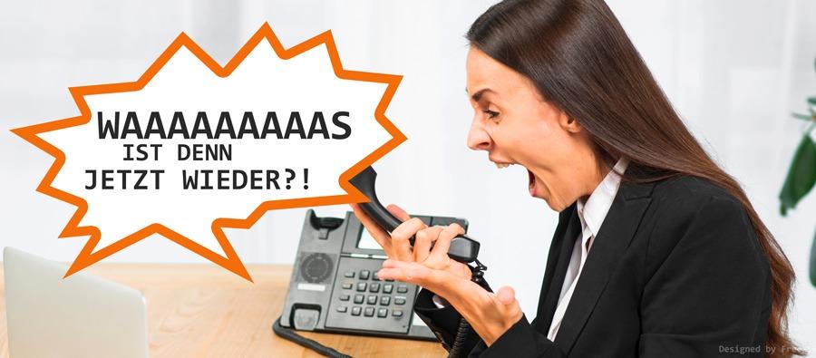 Frau regt sich über Anrufer auf